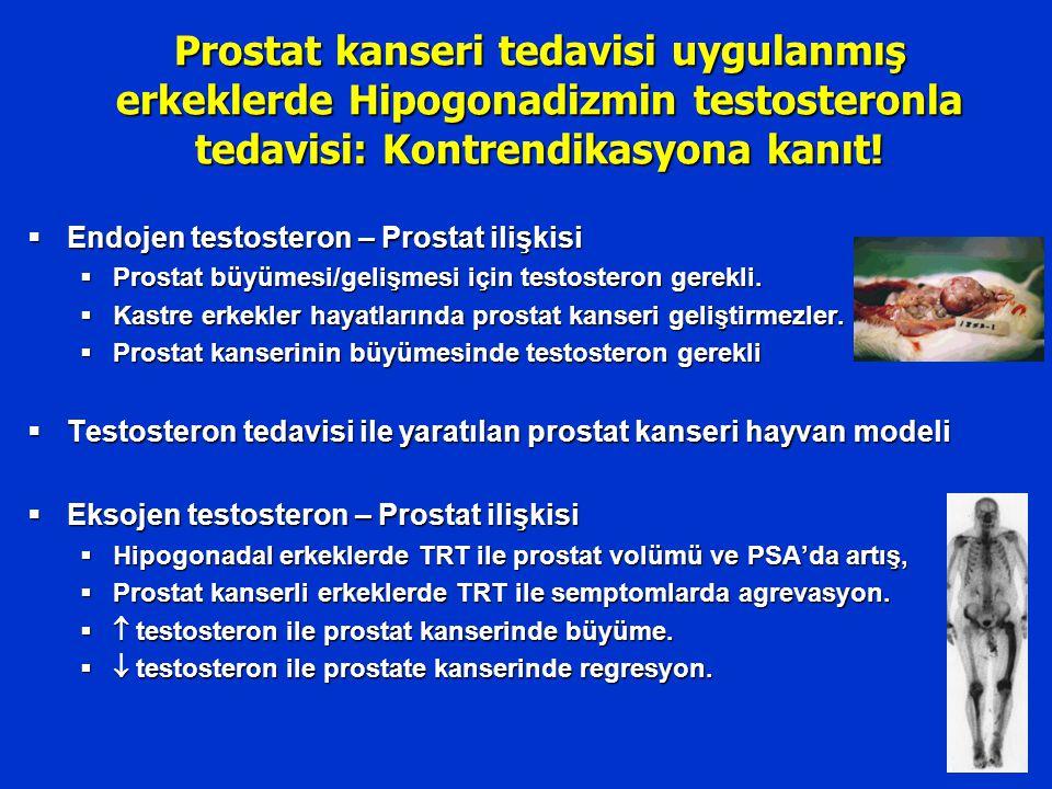 Prostat kanseri tedavisi uygulanmış erkeklerde Hipogonadizmin testosteronla tedavisi: Kontrendikasyona kanıt!  Endojen testosteron – Prostat ilişkisi