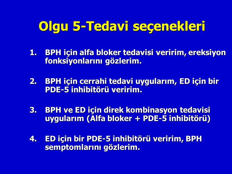 Olgu 5-Tedavi seçenekleri 1.BPH için alfa bloker tedavisi veririm, ereksiyon fonksiyonlarını gözlerim. 2.BPH için cerrahi tedavi uygularım, ED için bi