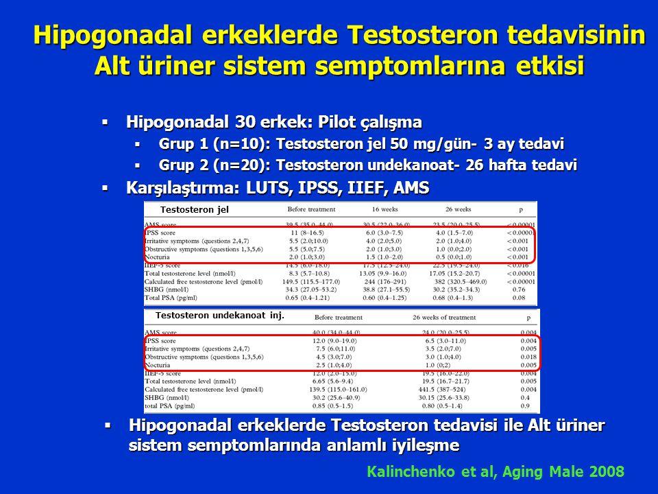 Hipogonadal erkeklerde Testosteron tedavisinin Alt üriner sistem semptomlarına etkisi Kalinchenko et al, Aging Male 2008  Hipogonadal 30 erkek: Pilot