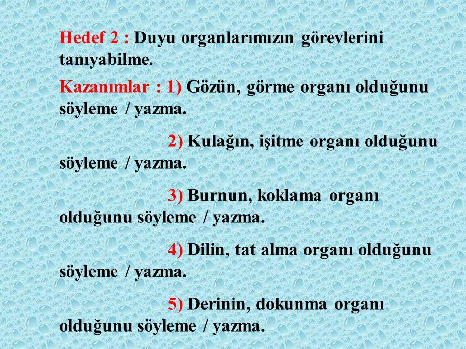 Hedef 1: Duyu organlarımızı tanıyabilme. Kazanımlar: 1) Duyu organlarını, kendi vücudu üzerinde göstererek adlarını söyleme / yazma. 2) Her bir duyu o