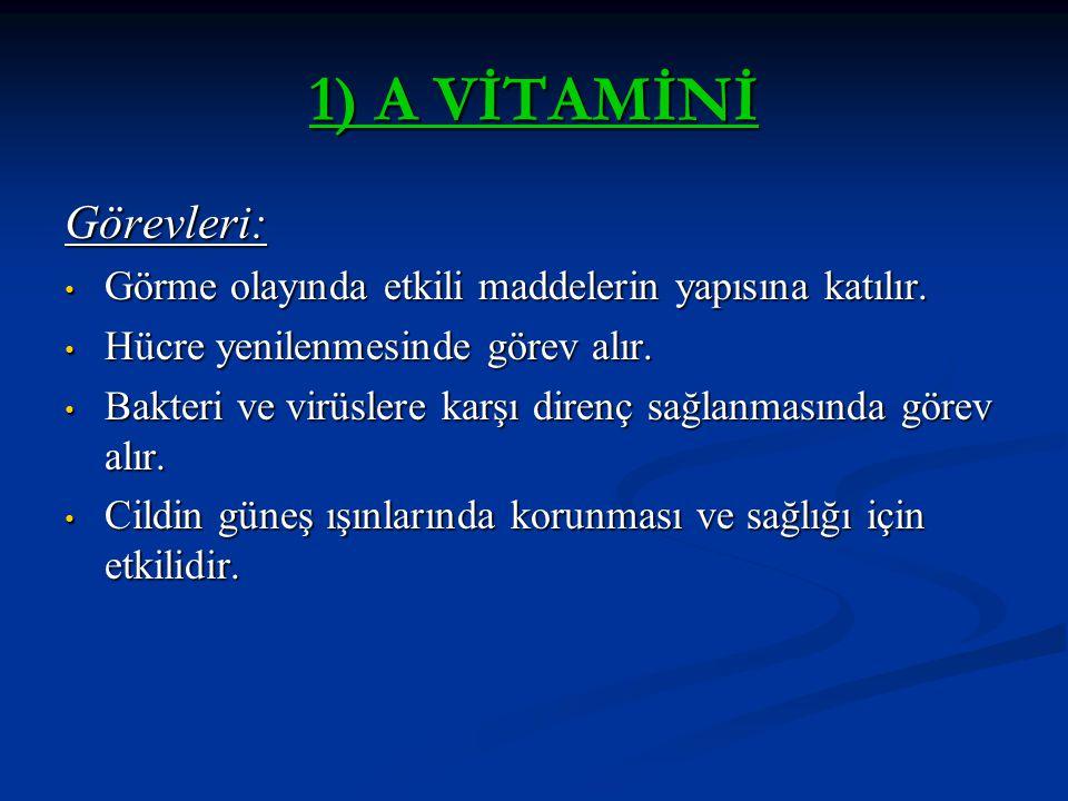 A Vitamini Eksikliğinde : Gece Körlüğü ve göz iltihaplanmaları görülür.
