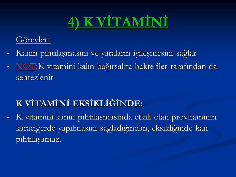 4) K VİTAMİNİ Görevleri: Kanın pıhtılaşmasını ve yaraların iyileşmesini sağlar. Kanın pıhtılaşmasını ve yaraların iyileşmesini sağlar. NOT:K vitamini