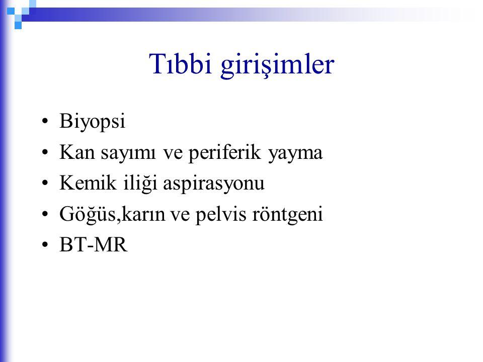 Tıbbi girişimler Biyopsi Kan sayımı ve periferik yayma Kemik iliği aspirasyonu Göğüs,karın ve pelvis röntgeni BT-MR
