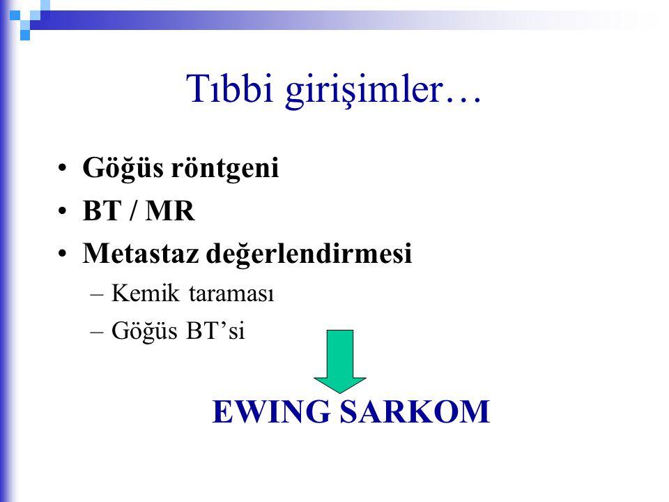 Tıbbi girişimler… Göğüs röntgeni BT / MR Metastaz değerlendirmesi –Kemik taraması –Göğüs BT'si EWING SARKOM