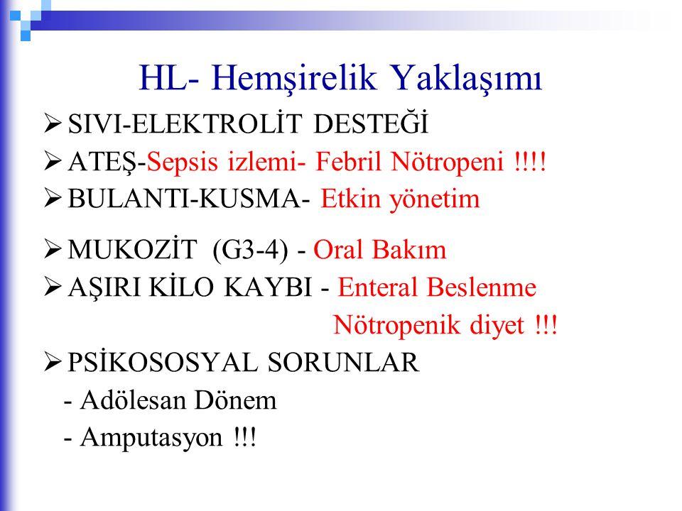 HL- Hemşirelik Yaklaşımı  SIVI-ELEKTROLİT DESTEĞİ  ATEŞ-Sepsis izlemi- Febril Nötropeni !!!!  BULANTI-KUSMA- Etkin yönetim  MUKOZİT (G3-4) - Oral