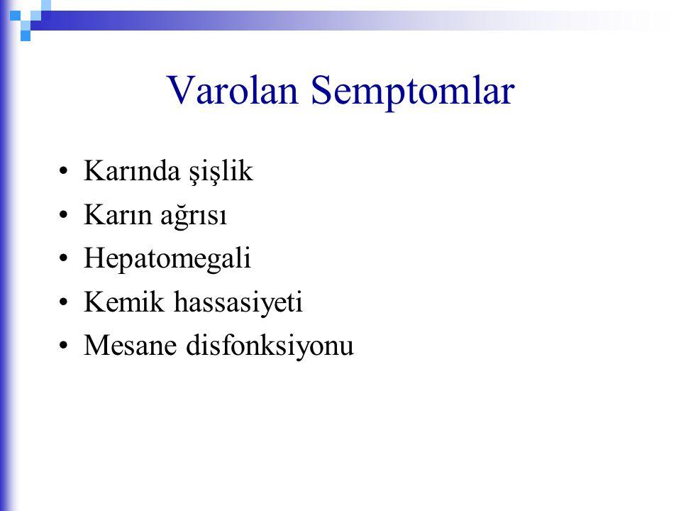 Varolan Semptomlar Karında şişlik Karın ağrısı Hepatomegali Kemik hassasiyeti Mesane disfonksiyonu