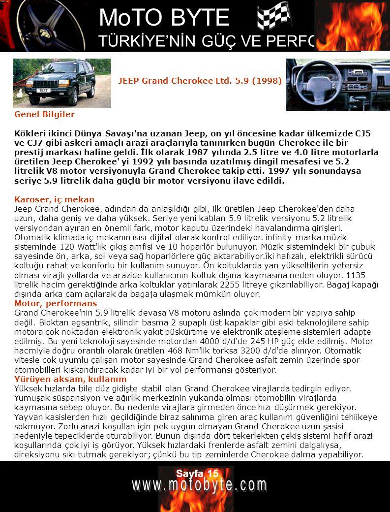 MoTO BYTE TÜRKİYE'NİN GÜÇ VE PERFOMANS DERGİSİ Sayfa 15 Genel Bilgiler Kökleri ikinci Dünya Savaşı'na uzanan Jeep, on yıl öncesine kadar ülkemizde CJ5
