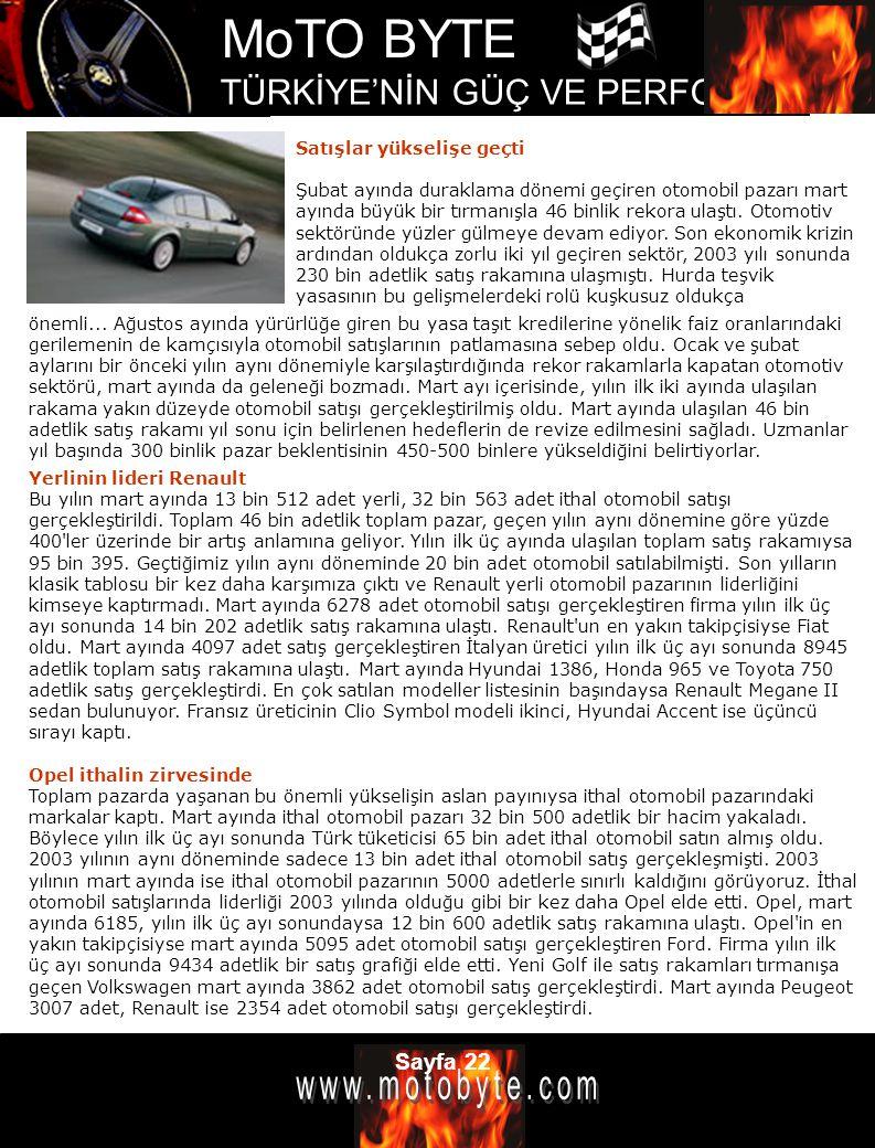 MoTO BYTE TÜRKİYE'NİN GÜÇ VE PERFOMANS DERGİSİ Sayfa 22 Satışlar yükselişe geçti Şubat ayında duraklama dönemi geçiren otomobil pazarı mart ayında büy