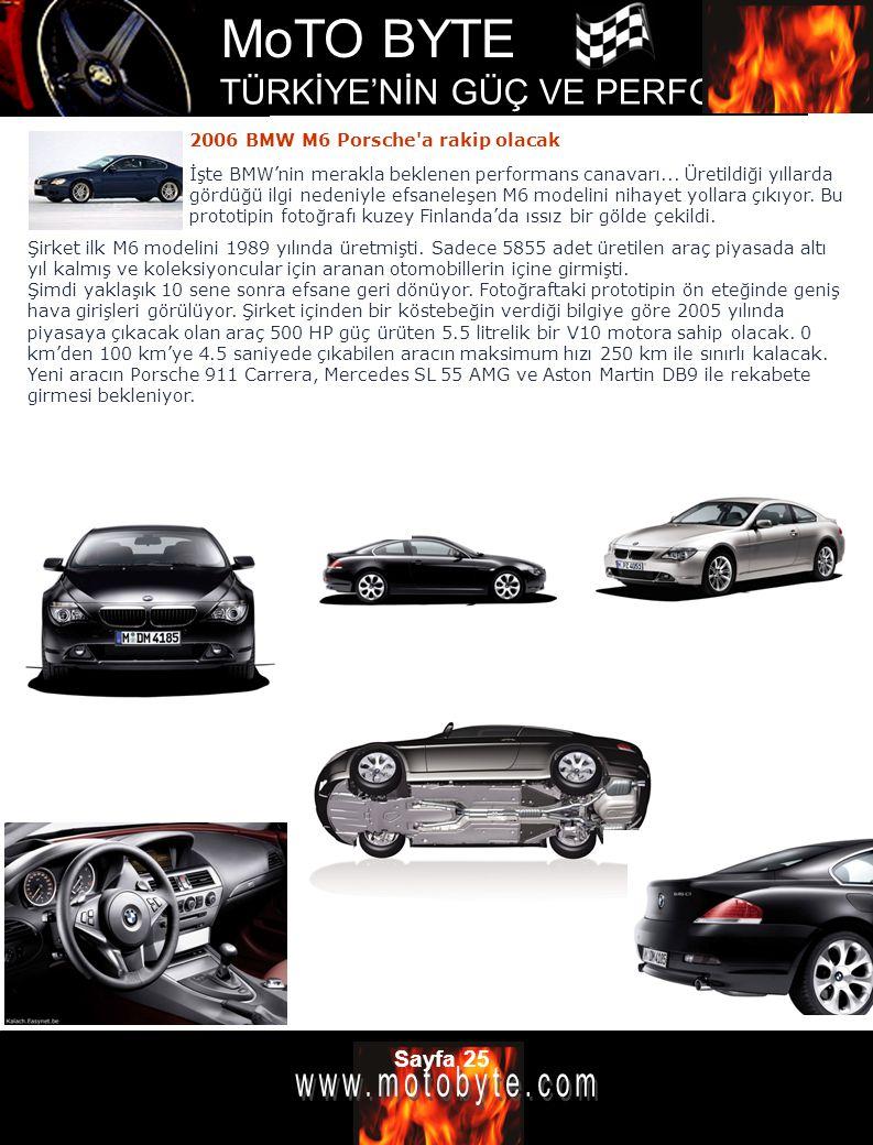 MoTO BYTE TÜRKİYE'NİN GÜÇ VE PERFOMANS DERGİSİ Sayfa 25 2006 BMW M6 Porsche'a rakip olacak Şirket ilk M6 modelini 1989 yılında üretmişti. Sadece 5855