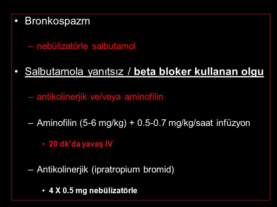 Bronkospazm –nebülizatörle salbutamol Salbutamola yanıtsız / beta bloker kullanan olgu –antikolinerjik ve/veya aminofilin –Aminofilin (5-6 mg/kg) + 0.5-0.7 mg/kg/saat infüzyon 20 dk'da yavaş IV –Antikolinerjik (ipratropium bromid) 4 X 0.5 mg nebülizatörle