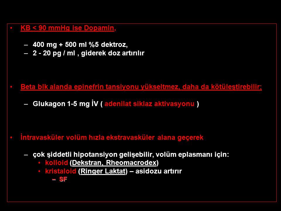 KB < 90 mmHg ise Dopamin, –400 mg + 500 ml %5 dektroz, –2 - 20 pg / ml, giderek doz artırılır Beta blk alanda epinefrin tansiyonu yükseltmez, daha da kötüleştirebilir; –Glukagon 1-5 mg İV ( adenilat siklaz aktivasyonu ) İntravasküler volüm hızla ekstravasküler alana geçerek –çok şiddetli hipotansiyon gelişebilir, volüm eplasmanı için: kolloid (Dekstran, Rheomacrodex) kristaloid (Ringer Laktat) – asidozu artırır –SF