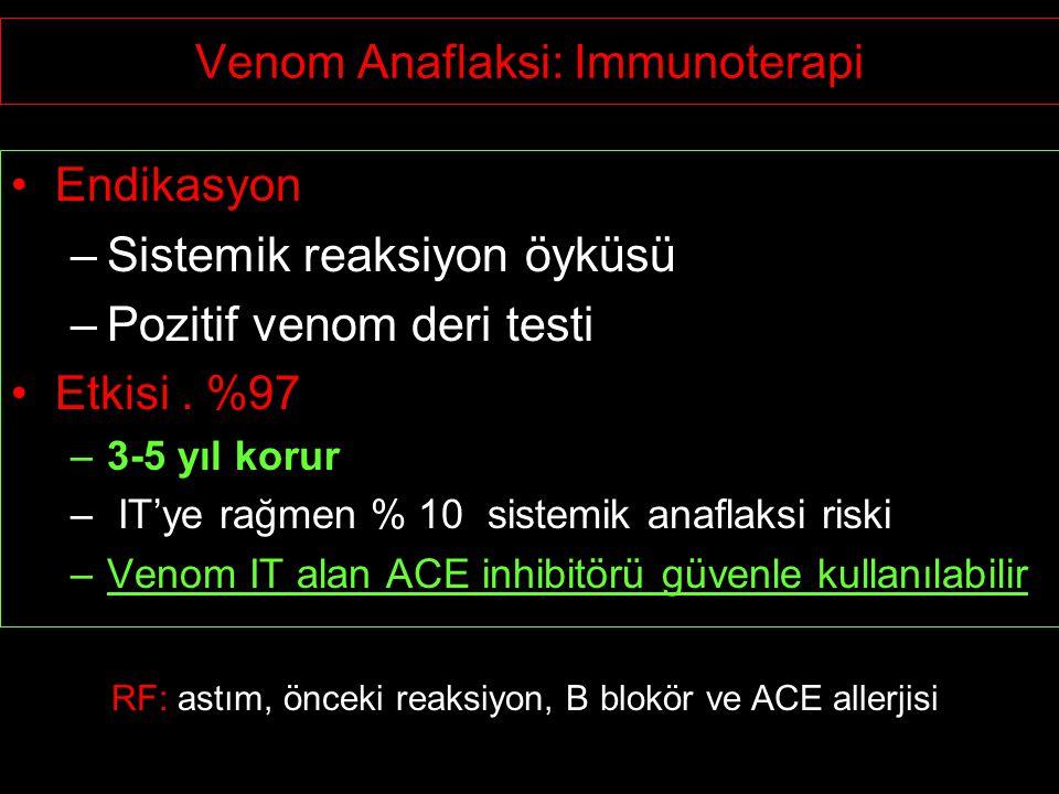 Venom Anaflaksi: Immunoterapi Endikasyon –Sistemik reaksiyon öyküsü –Pozitif venom deri testi Etkisi. %97 –3-5 yıl korur – IT'ye rağmen % 10 sistemik