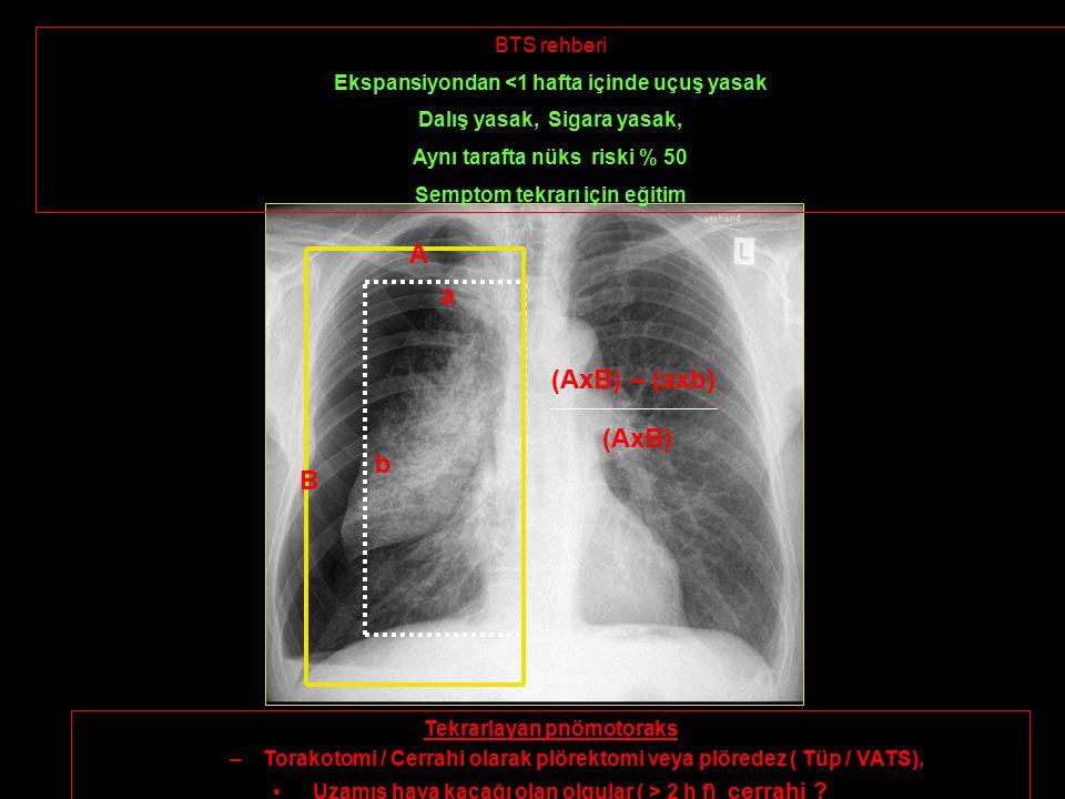 a b A B (AxB) – (axb) (AxB) BTS rehberi Ekspansiyondan <1 hafta içinde uçuş yasak Dalış yasak, Sigara yasak, Aynı tarafta nüks riski % 50 Semptom tekrarı için eğitim Tekrarlayan pnömotoraks –Torakotomi / Cerrahi olarak plörektomi veya plöredez ( Tüp / VATS), Uzamış hava kaçağı olan olgular ( > 2 h f) cerrahi ?
