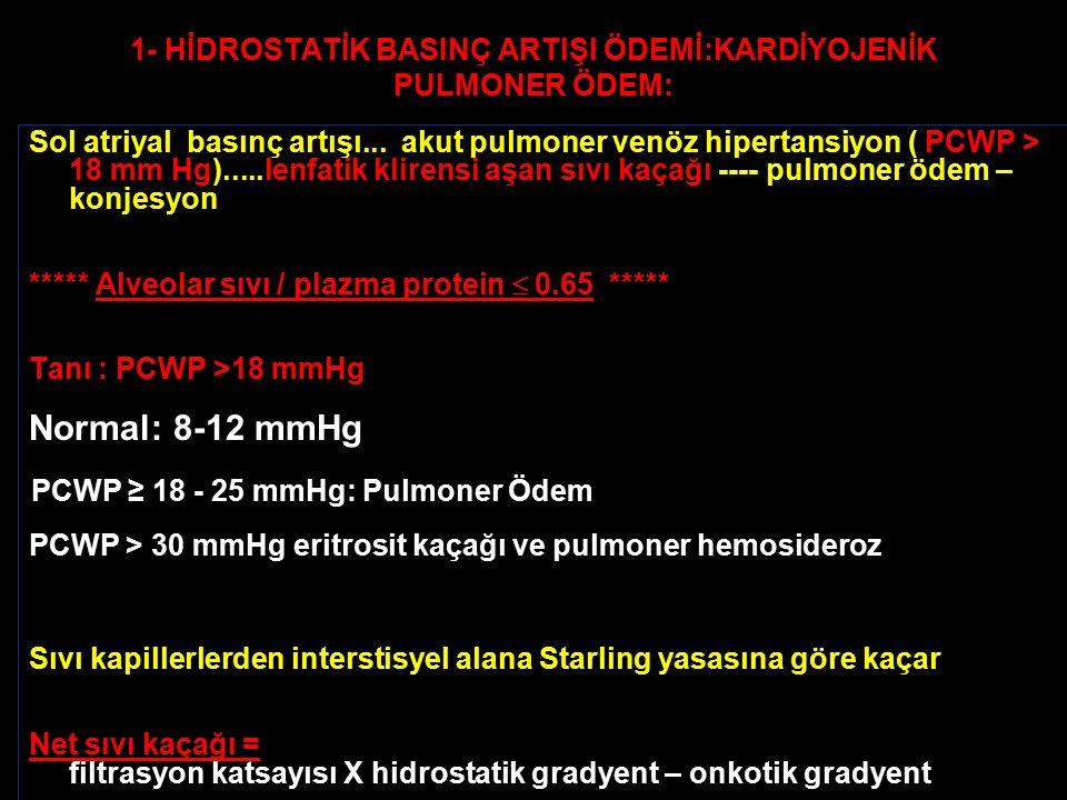1- HİDROSTATİK BASINÇ ARTIŞI ÖDEMİ:KARDİYOJENİK PULMONER ÖDEM: Sol atriyal basınç artışı... akut pulmoner venöz hipertansiyon ( PCWP > 18 mm Hg).....l