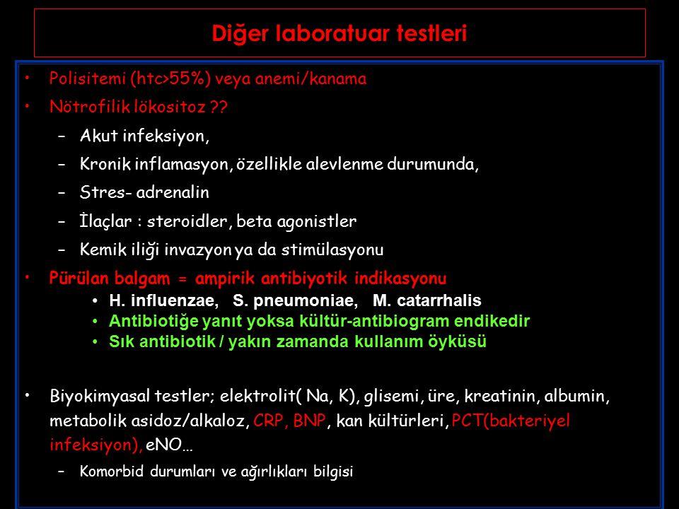 Diğer laboratuar testleri Polisitemi (htc>55%) veya anemi/kanama Nötrofilik lökositoz ?.