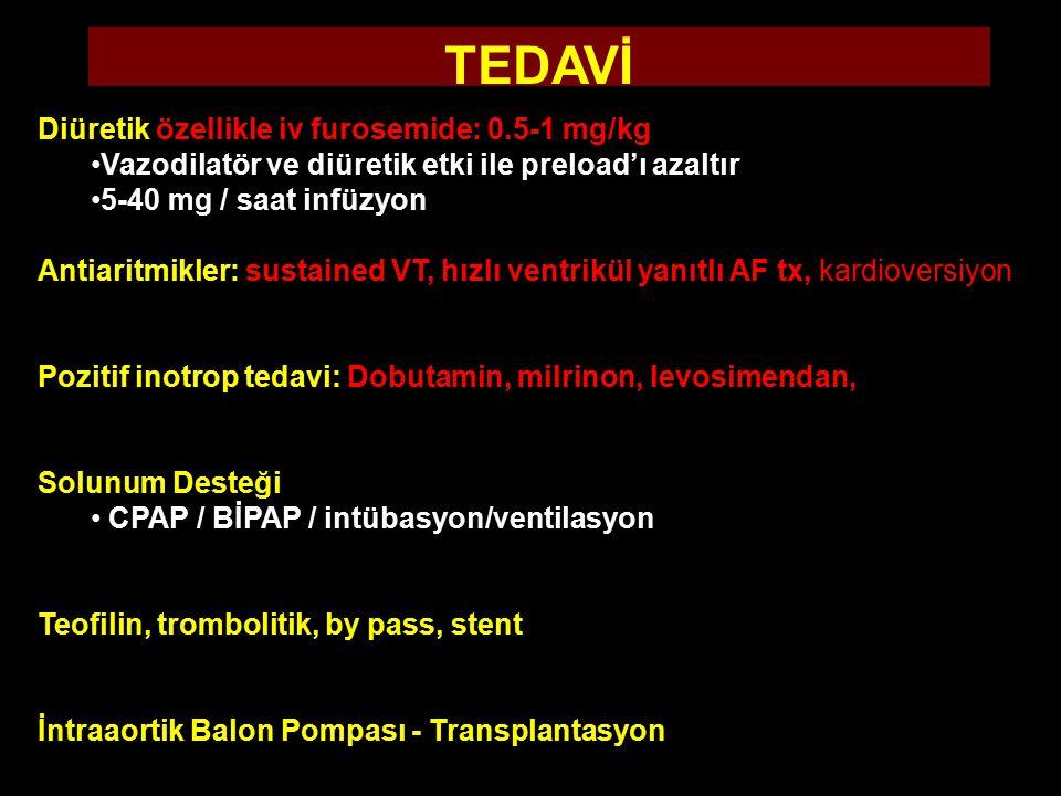 Diüretik özellikle iv furosemide: 0.5-1 mg/kg Vazodilatör ve diüretik etki ile preload'ı azaltır 5-40 mg / saat infüzyon Antiaritmikler: sustained VT, hızlı ventrikül yanıtlı AF tx, kardioversiyon Pozitif inotrop tedavi: Dobutamin, milrinon, levosimendan, Solunum Desteği CPAP / BİPAP / intübasyon/ventilasyon Teofilin, trombolitik, by pass, stent İntraaortik Balon Pompası - Transplantasyon TEDAVİ