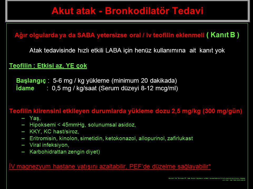 Akut atak - Bronkodilatör Tedavi Ağır olgularda ya da SABA yetersizse oral / iv teofilin eklenmeli ( Kanıt B ) Atak tedavisinde hızlı etkili LABA için henüz kullanımına ait kanıt yok Teofilin : Etkisi az, YE çok Başlangıç : 5-6 mg / kg yükleme (minimum 20 dakikada) İdame : 0,5 mg / kg/saat (Serum düzeyi 8-12 mcg/ml) Teofilin klirensini etkileyen durumlarda yükleme dozu 2,5 mg/kg (300 mg/gün) –Yaş, –Hipoksemi < 45mmHg, solunumsal asidoz, –KKY, KC hast/siroz, –Eritromisin, kinolon, simetidin, ketokonazol, allopurinol, zafirlukast –Viral infeksiyon, –Karbohidrattan zengin diyet) İV magnezyum hastane yatışını azaltabilir, PEF'de düzelme sağlayabilir* *Skorodin MS, Tenholder MF, Yetter B et al.