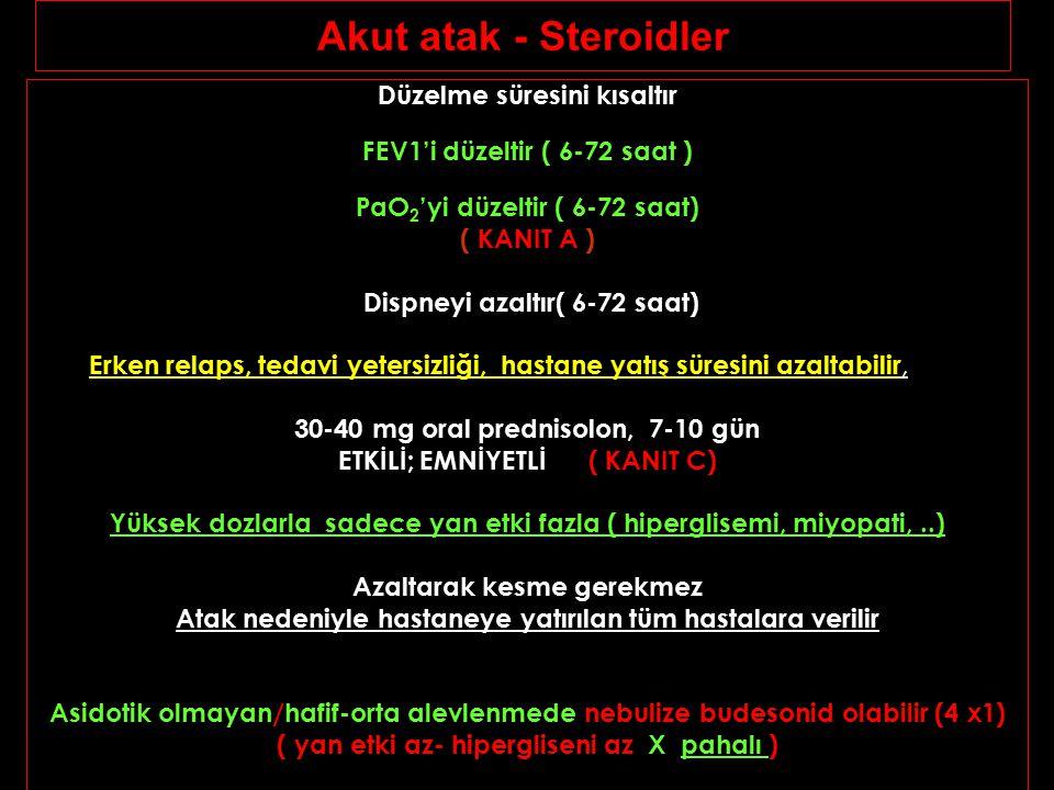 Akut atak - Steroidler Düzelme süresini kısaltır FEV1'i düzeltir ( 6-72 saat ) PaO 2 'yi düzeltir ( 6-72 saat) ( KANIT A ) Dispneyi azaltır( 6-72 saat
