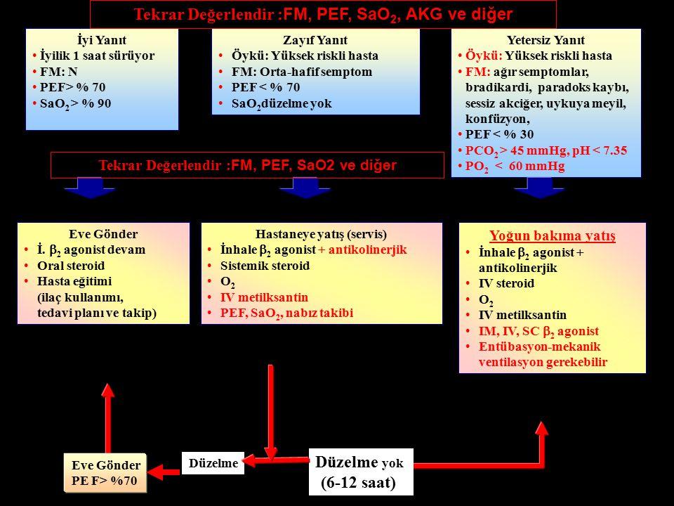 İyi Yanıt Son tedaviden sonra iyilik 1 saat sürüyor FM: N PEF>%70 SaO 2 %90 (Çocuk <%95) Zayıf Yanıt Öykü: Yüksek riskli hasta FM: Orta-hafif semptom PEF<%70 SaO 2 düzelme yok Yetersiz Yanıt Öykü: Yüksek riskli hasta FM: Ciddi semptomlar, uykuya meyil, konfüzyon PEF<%30 PCO 2 >45 mmHg PO 2 < 60 mmHg Eve Gönder İnhale  2 agonist devam Oral steroid Hasta eğitimi (ilaç kullanımı, tedavi planı ve takip) Hastaneye yatış (servis) İnhale  2 agonist + antikolinerjik Sistemik steroid O 2 IV metilksantin PEF, SaO 2, nabız takibi Yoğun bakıma yatış İnhale  2 agonist + antikolinerjik IV steroid IM, IV, SC  2 agonist O 2 IV metilksantin Entübasyon-mekanik ventilasyon gerekebilir Entübasyon ve Yardımcı Solunum Cihazlarına Gereksinim Endikasyonları  Kalp solunum durması  Bilinç kaybı, syanoz, sessiz akciğer  Konuşamama, ileri derecede bitkinlik  Hiperkapni, asidoz İyi Yanıt İyilik 1 saat sürüyor FM: N PEF> % 70 SaO 2 > % 90 Zayıf Yanıt Öykü: Yüksek riskli hasta FM: Orta-hafif semptom PEF < % 70 SaO 2 düzelme yok Yetersiz Yanıt Öykü: Yüksek riskli hasta FM: ağır semptomlar, bradikardi, paradoks kaybı, sessiz akciğer, uykuya meyil, konfüzyon, PEF < % 30 PCO 2 > 45 mmHg, pH < 7.35 PO 2 < 60 mmHg Eve Gönder İ.
