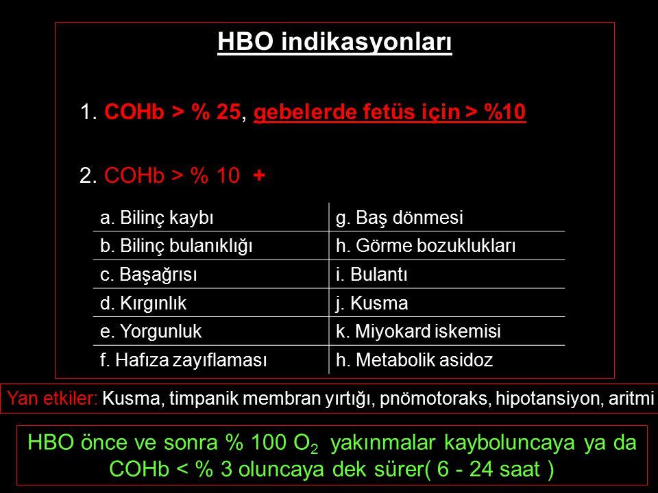 HBO indikasyonları 1. COHb > % 25, gebelerde fetüs için > %10 2. COHb > % 10 + a. Bilinç kaybıg. Baş dönmesi b. Bilinç bulanıklığıh. Görme bozukluklar