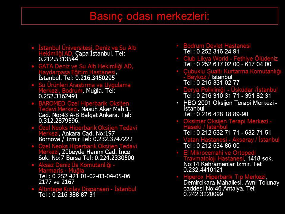 Basınç odası merkezleri: İstanbul Üniversitesi, Deniz ve Su Altı Hekimliği AD, Çapa İstanbul. Tel: 0.212.5313544 GATA Deniz ve Su Altı Hekimliği AD, H