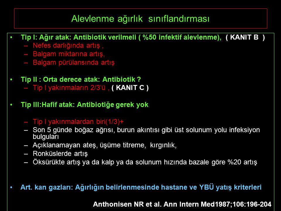 Alevlenme ağırlık sınıflandırması Tip I: Ağır atak: Antibiotik verilmeli ( %50 infektif alevlenme), ( KANIT B ) –Nefes darlığında artış, –Balgam miktarına artış, –Balgam pürülansında artış Tip II : Orta derece atak: Antibiotik .