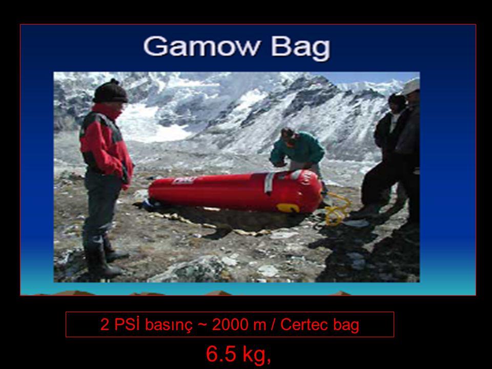 2 PSİ basınç ~ 2000 m / Certec bag 6.5 kg,