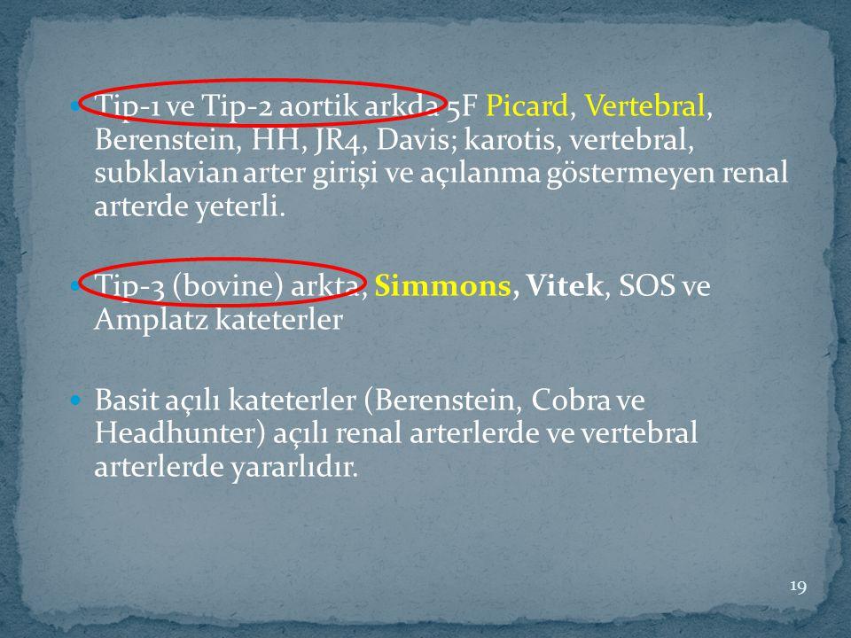 Tip-1 ve Tip-2 aortik arkda 5F Picard, Vertebral, Berenstein, HH, JR4, Davis; karotis, vertebral, subklavian arter girişi ve açılanma göstermeyen rena