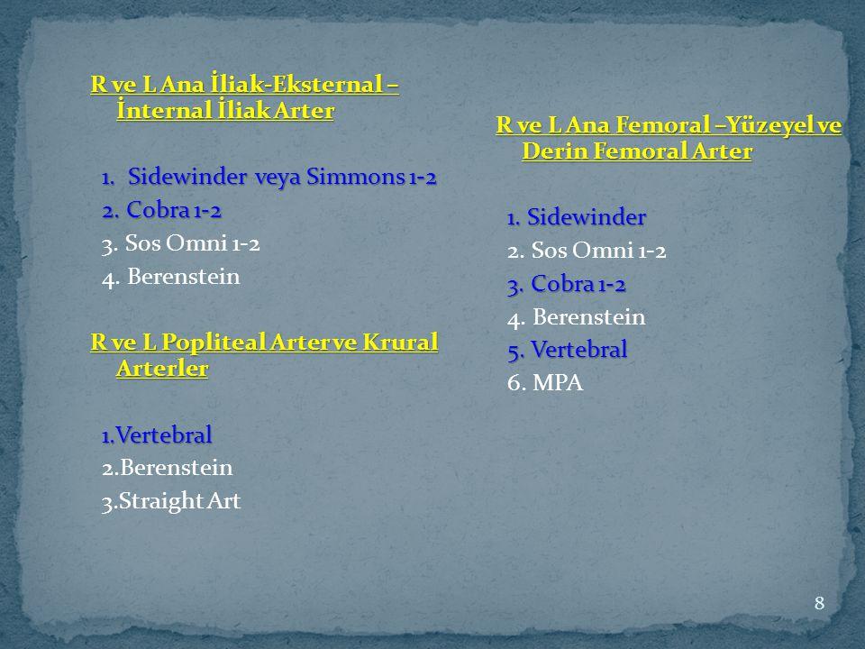 R ve L Ana İliak-Eksternal – İnternal İliak Arter 1. Sidewinder veya Simmons 1-2 1. Sidewinder veya Simmons 1-2 2. Cobra 1-2 2. Cobra 1-2 3. Sos Omni
