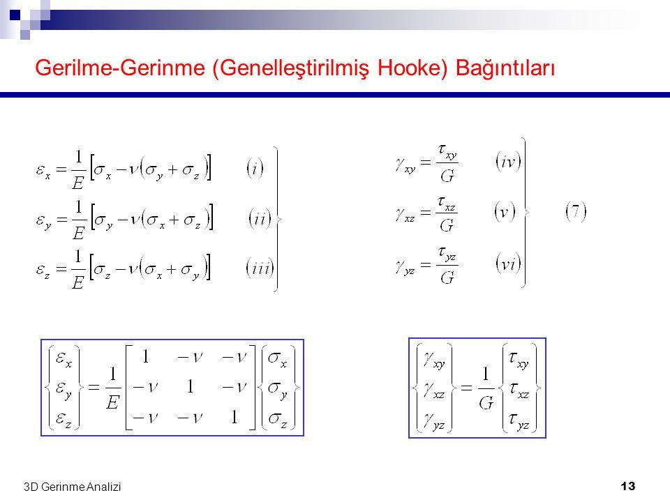 3D Gerinme Analizi 13 Gerilme-Gerinme (Genelleştirilmiş Hooke) Bağıntıları