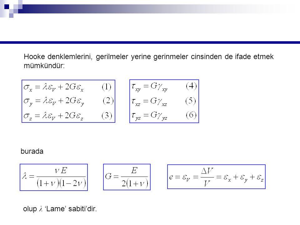 burada olup λ 'Lame' sabiti'dir.
