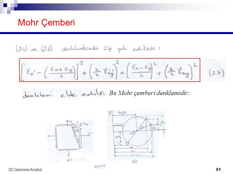 3D Gerinme Analizi 31 Mohr Çemberi Bu Mohr çemberi denklemidir:
