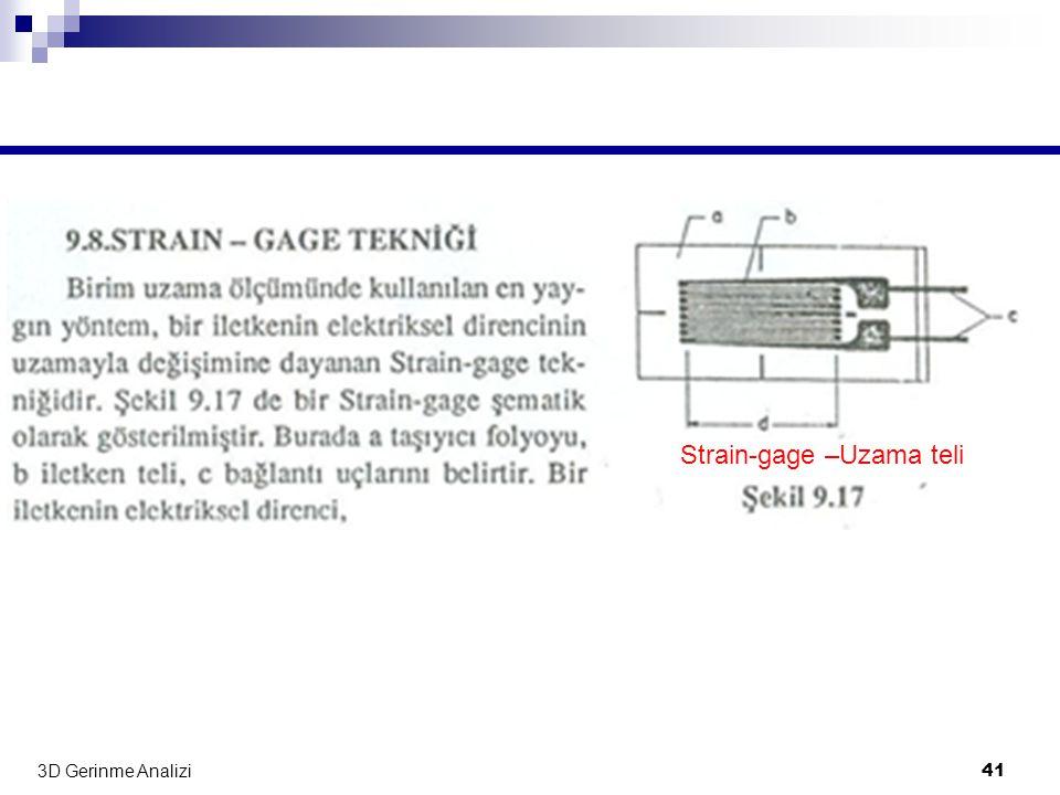 3D Gerinme Analizi 41 Strain-gage –Uzama teli