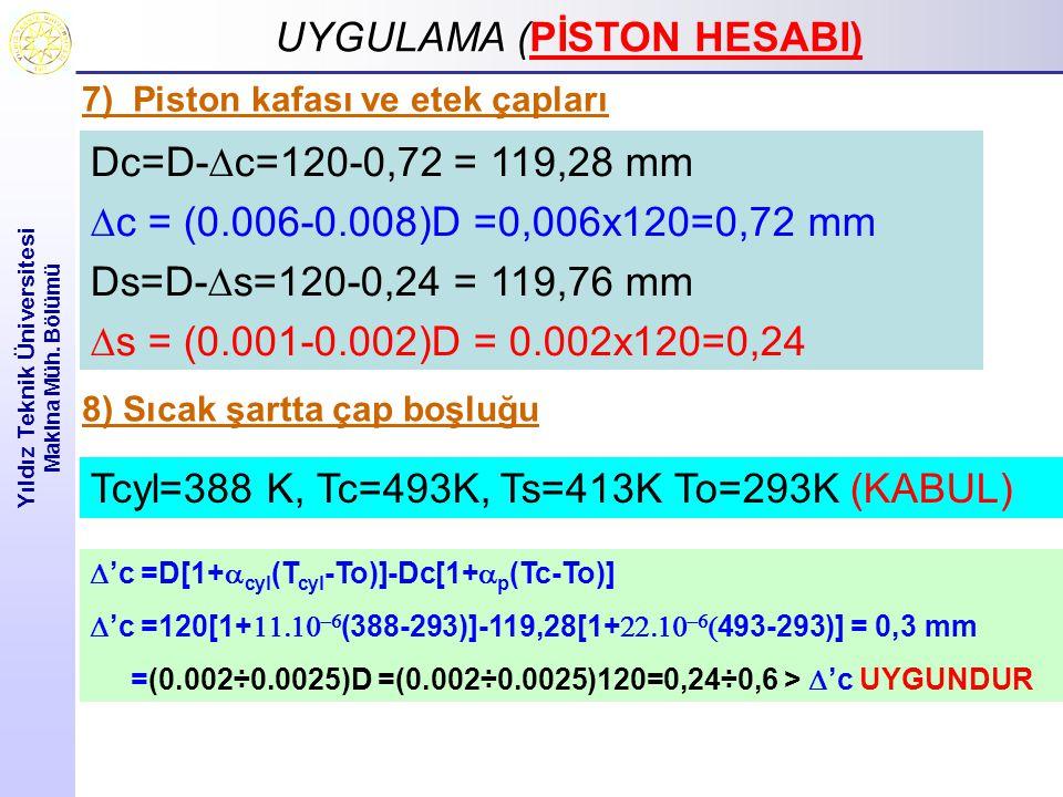 UYGULAMA ( UYGULAMA (PİSTON HESABI) Yıldız Teknik Üniversitesi Makina Müh. Bölümü Dc=D-  c=120-0,72 = 119,28 mm  c = (0.006-0.008)D =0,006x120=0,72