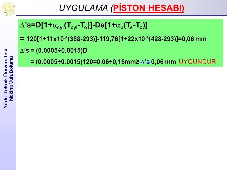 UYGULAMA ( UYGULAMA (PİSTON HESABI) Yıldız Teknik Üniversitesi Makina Müh. Bölümü  's=D[1+  cyl (T cyl -T o )]-Ds[1+  p (T s -T o )] = 120[1+11x10