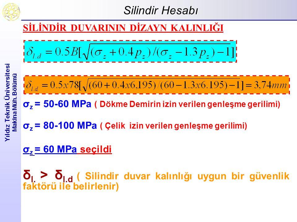 Silindir Hesabı Yıldız Teknik Üniversitesi Makina Müh.