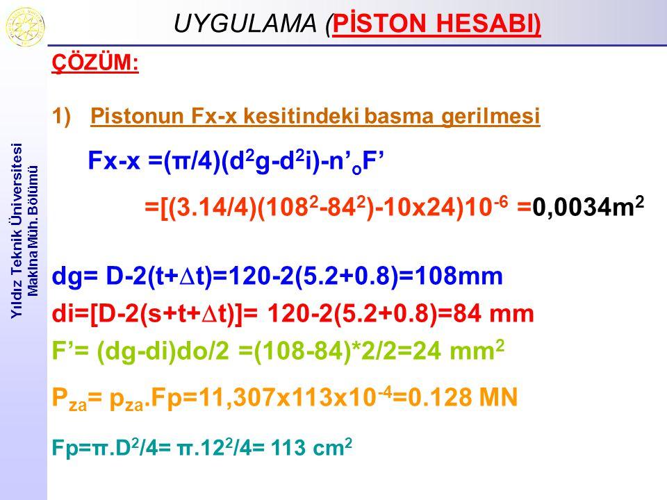 UYGULAMA ( UYGULAMA (PİSTON HESABI) Yıldız Teknik Üniversitesi Makina Müh. Bölümü ÇÖZÜM: 1)Pistonun Fx-x kesitindeki basma gerilmesi Fx-x =(π/4)(d 2 g