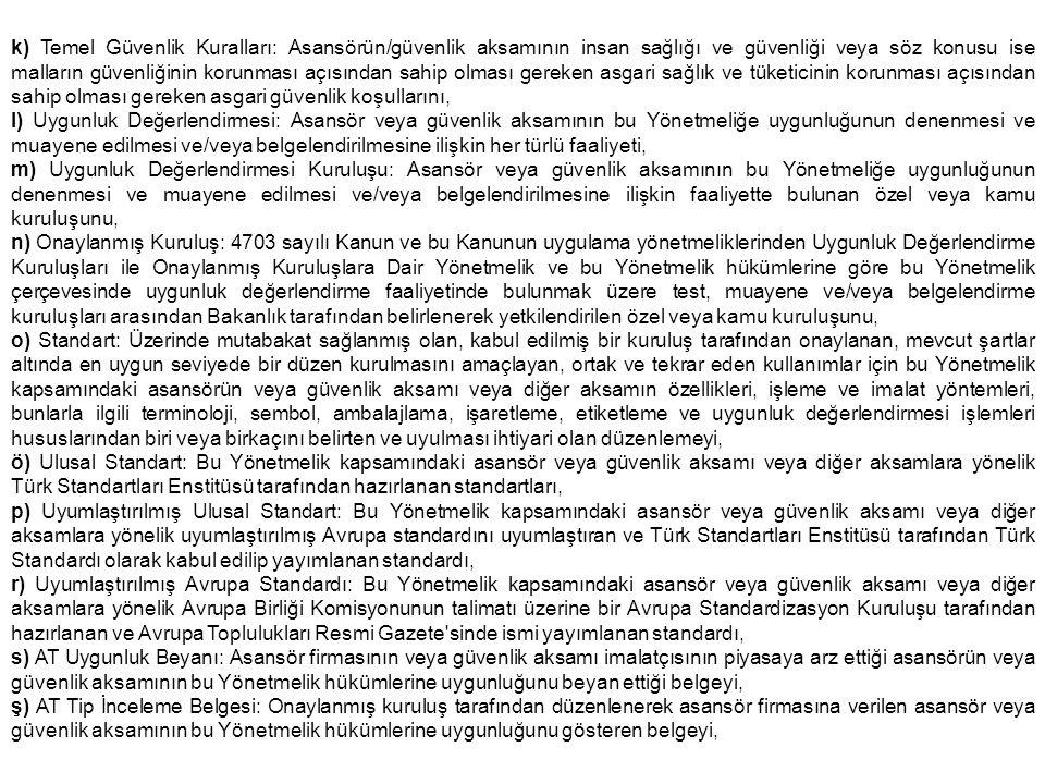 k) Temel Güvenlik Kuralları: Asansörün/güvenlik aksamının insan sağlığı ve güvenliği veya söz konusu ise malların güvenliğinin korunması açısından sah