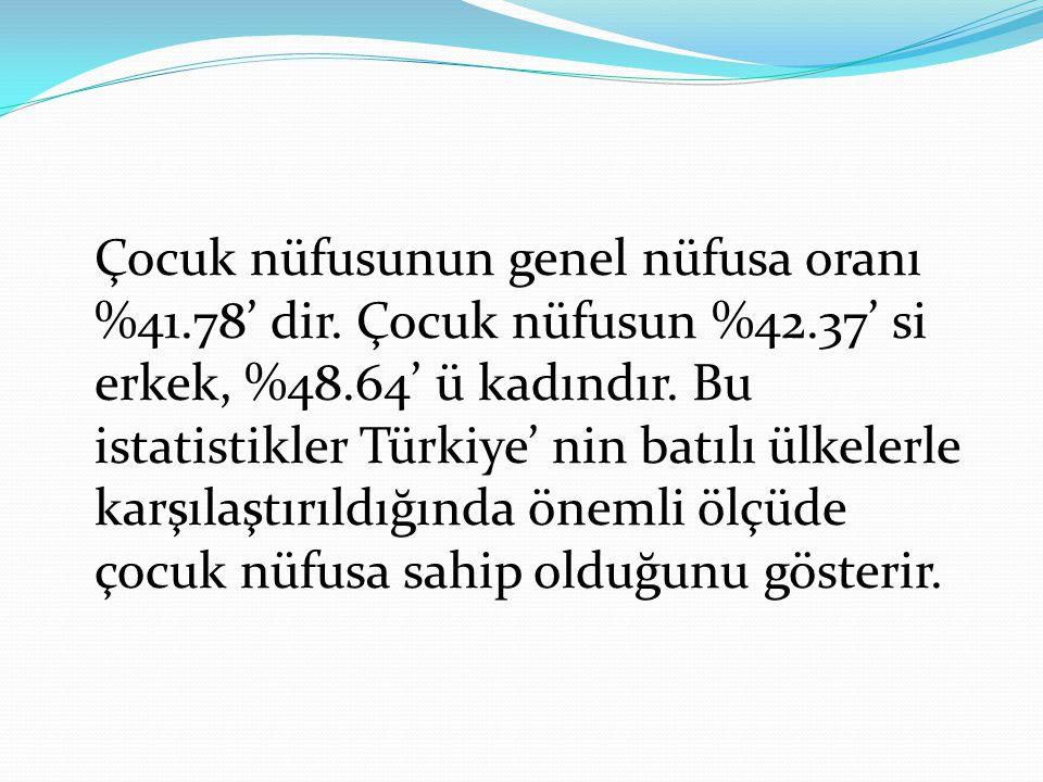 Çocuk sayısındaki bu ciddi göstergeler Türkiye' de çocuk nüfusun devlet ve toplum için önemli bir toplumsal olgu olduğuna tanıklık etmektedir.