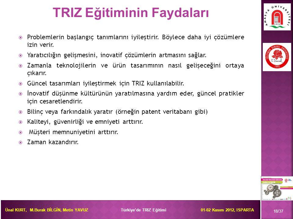 Ünal KURT, M.Burak BİLGİN, Metin YAVUZ Türkiye'de TRIZ Eğitimi 01-02 Kasım 2012, ISPARTA  Problemlerin başlangıç tanımlarını iyileştirir. Böylece dah