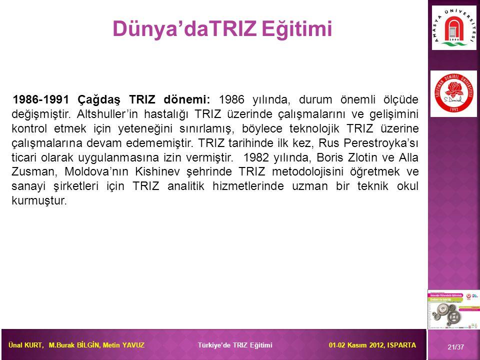 Ünal KURT, M.Burak BİLGİN, Metin YAVUZ Türkiye'de TRIZ Eğitimi 01-02 Kasım 2012, ISPARTA 21/37 1986-1991 Çağdaş TRIZ dönemi: 1986 yılında, durum öneml