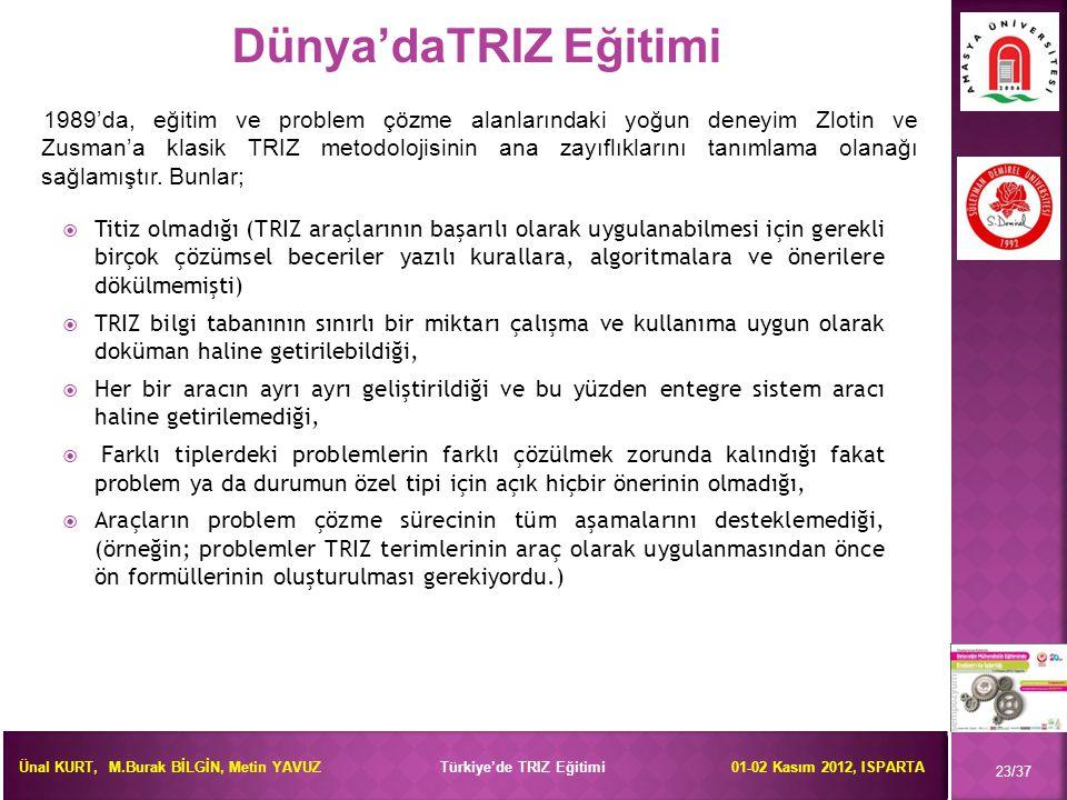 Ünal KURT, M.Burak BİLGİN, Metin YAVUZ Türkiye'de TRIZ Eğitimi 01-02 Kasım 2012, ISPARTA  Titiz olmadığı (TRIZ araçlarının başarılı olarak uygulanabi