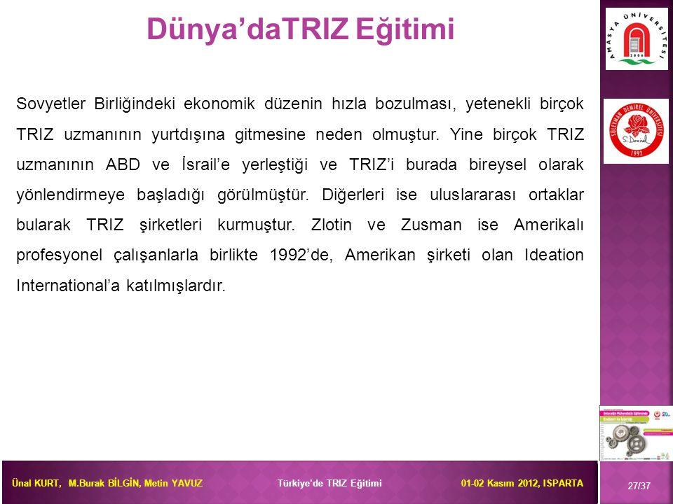 Ünal KURT, M.Burak BİLGİN, Metin YAVUZ Türkiye'de TRIZ Eğitimi 01-02 Kasım 2012, ISPARTA 27/37 Dünya'daTRIZ Eğitimi Sovyetler Birliğindeki ekonomik dü