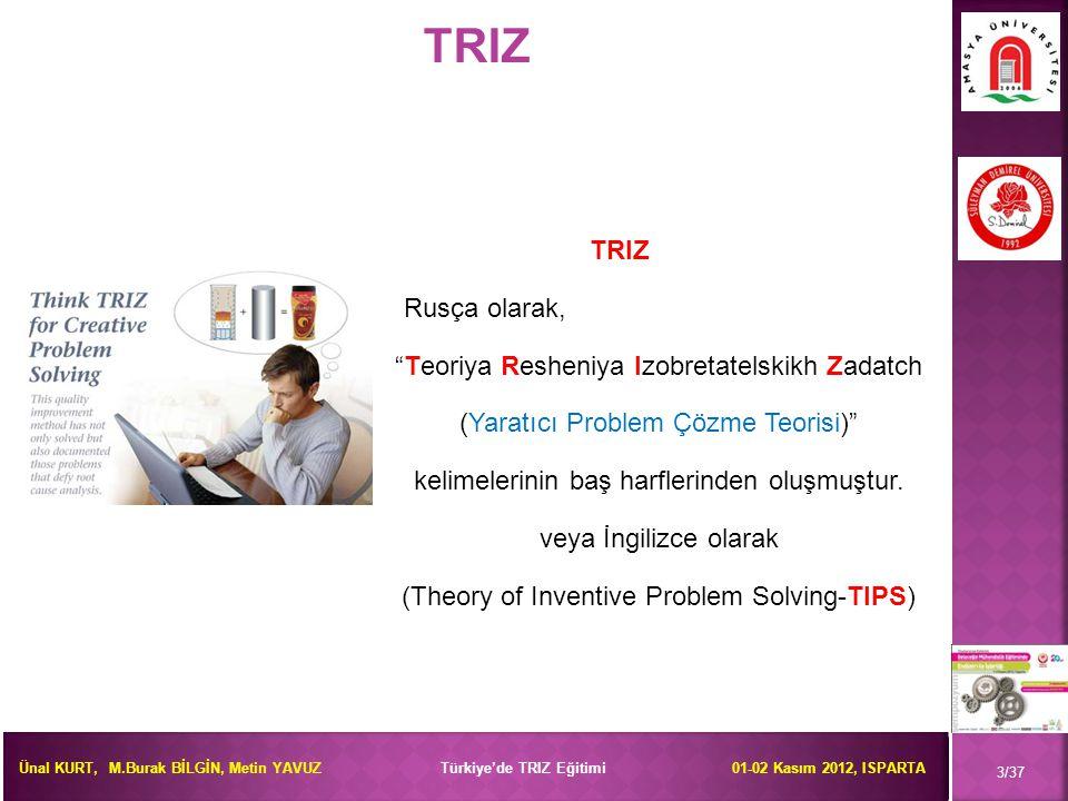 Ünal KURT, M.Burak BİLGİN, Metin YAVUZ Türkiye'de TRIZ Eğitimi 01-02 Kasım 2012, ISPARTA  TRIZ'i etkin kullanmak için gerekli eğitimler belirlenmiştir (100-250 saat).