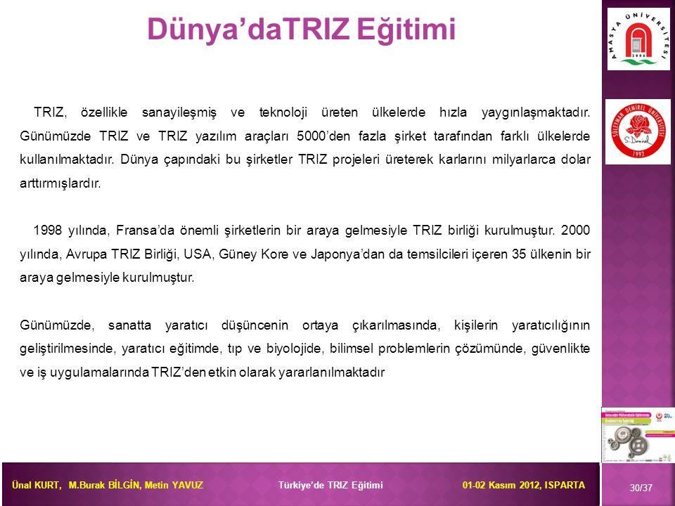 Ünal KURT, M.Burak BİLGİN, Metin YAVUZ Türkiye'de TRIZ Eğitimi 01-02 Kasım 2012, ISPARTA 30/37 Dünya'daTRIZ Eğitimi TRIZ, özellikle sanayileşmiş ve te