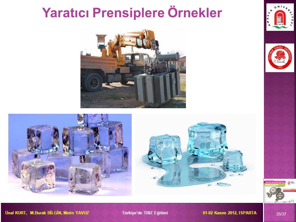 Ünal KURT, M.Burak BİLGİN, Metin YAVUZ Türkiye'de TRIZ Eğitimi 01-02 Kasım 2012, ISPARTA 35/37 Yaratıcı Prensiplere Örnekler
