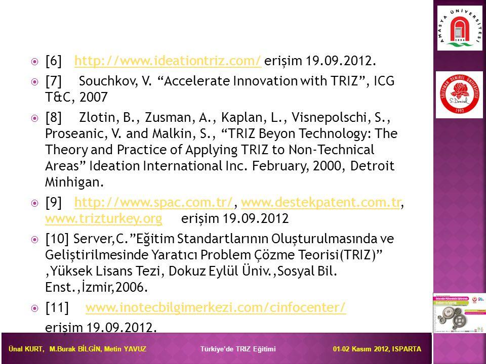Ünal KURT, M.Burak BİLGİN, Metin YAVUZ Türkiye'de TRIZ Eğitimi 01-02 Kasım 2012, ISPARTA  [6] http://www.ideationtriz.com/ erişim 19.09.2012.http://w