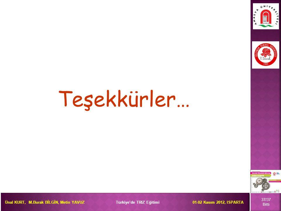 Ünal KURT, M.Burak BİLGİN, Metin YAVUZ Türkiye'de TRIZ Eğitimi 01-02 Kasım 2012, ISPARTA Teşekkürler… 37/37 Bitti