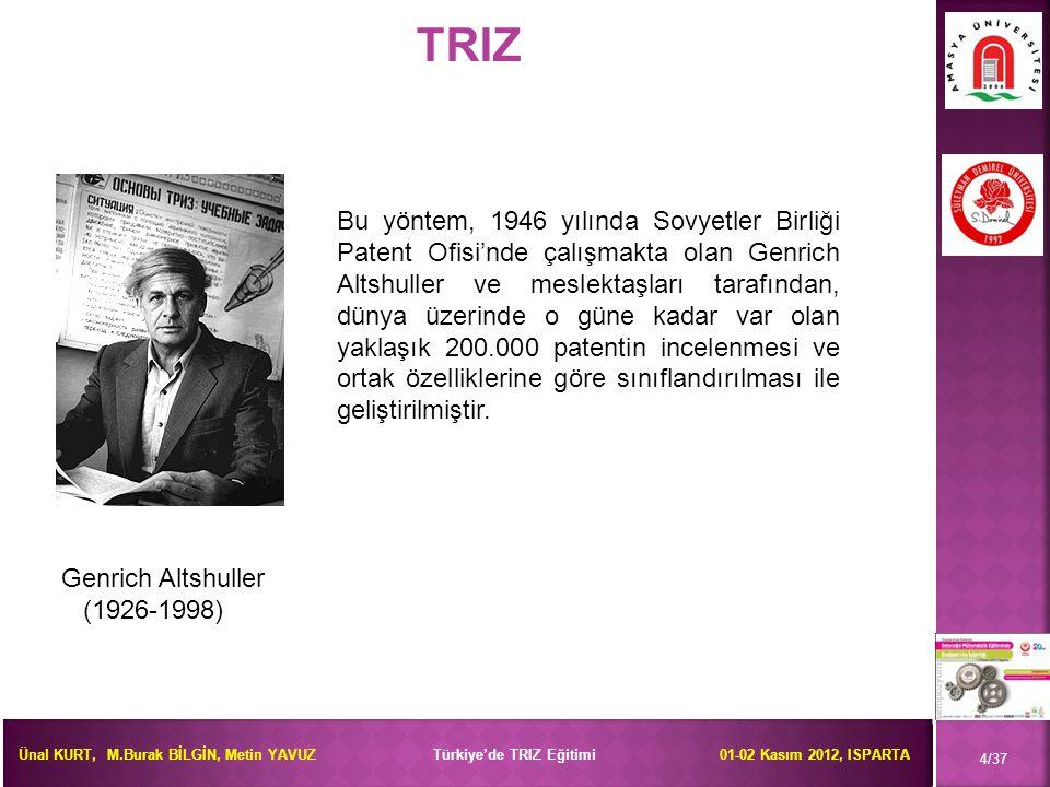 Ünal KURT, M.Burak BİLGİN, Metin YAVUZ Türkiye'de TRIZ Eğitimi 01-02 Kasım 2012, ISPARTA Altshuller Triz Yöntemini; Hayat sorunlar üzerine kuruludur.