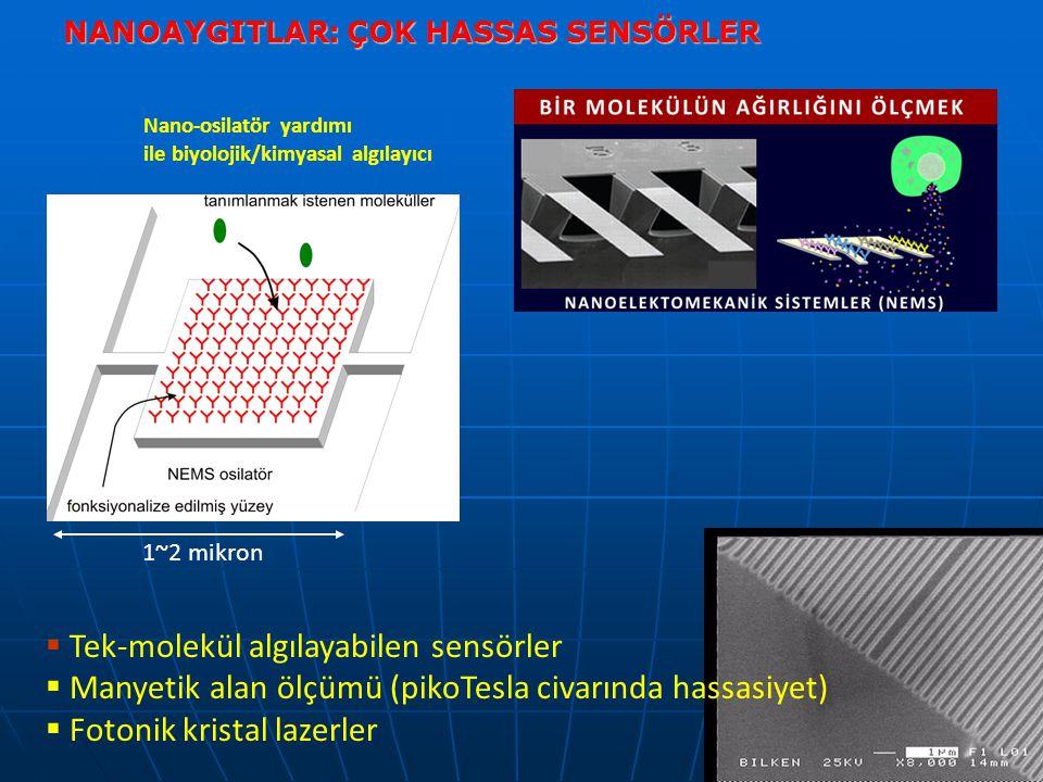 NANOAYGITLAR: ÇOK HASSAS SENSÖRLER  Tek-molekül algılayabilen sensörler  Manyetik alan ölçümü (pikoTesla civarında hassasiyet)  Fotonik kristal lazerler 1~2 mikron Nano-osilatör yardımı ile biyolojik/kimyasal algılayıcı